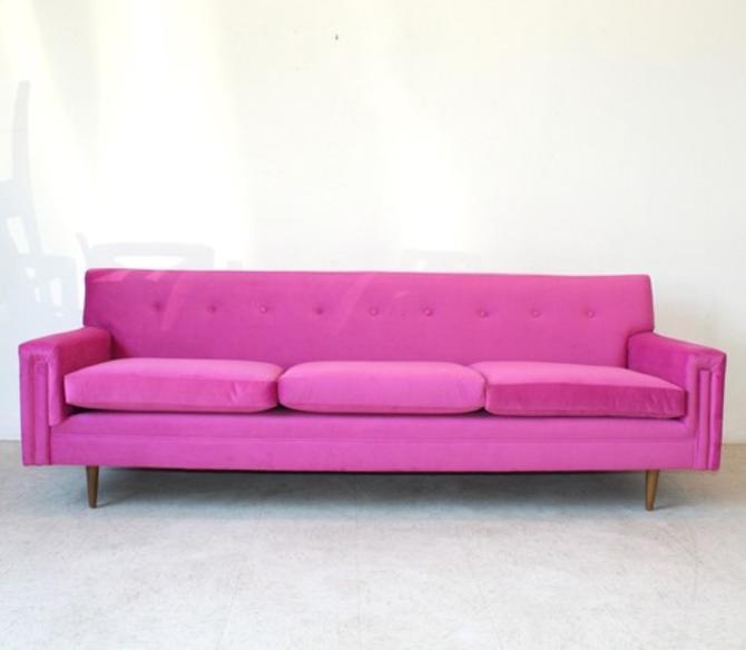 1960's Pink Fuchsia Vintage Sofa