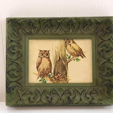 Vintage Owl Family Print Litho Green Frame Intercraft Industries Corp. Framed 1970s Kitsch Retro Decor Great Horned Owl Illustration by CheckEngineVintage