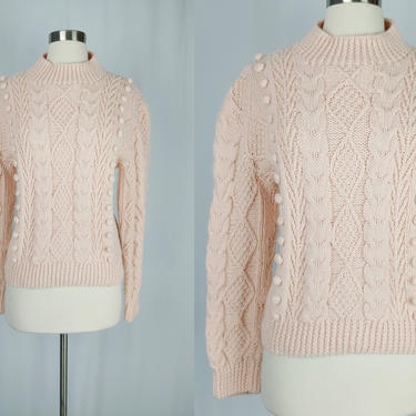 Vintage Eighties Sweater - 1980s Pale Pink Handmade Cable Knit Sweater - 80s Hand Knit Acrylic Pullover - Large / XL by JanetandJaneVintage