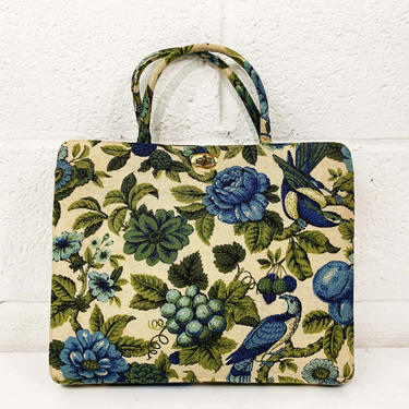 True Vintage Margaret Smith Floral Bag 60s Tapestry Purse Sewing 1950s 1960s Handbag Purse Fabric Kisslock Blue Roses Grapes Birds Maine USA by CheckEngineVintage