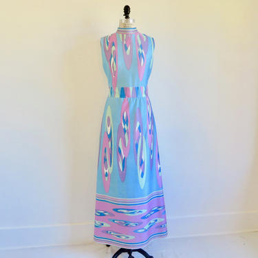 Vintage 1960's 1970's Mod Print Jersey Knit Long Maxi Dress Light Blue Pink Sleeveless Emilio Borghese Italian Designer Pucci Style Medium by seekcollect