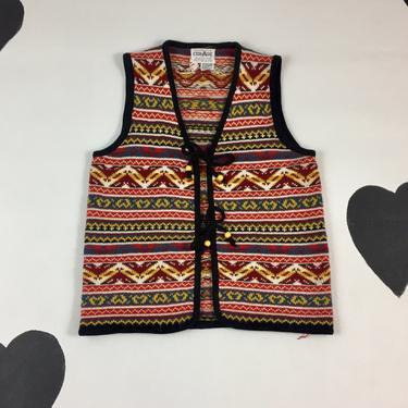 1970's striped patterned knit tie front sweater vest 70's kitschy preppy ski snow cardigan zig zag knit vest Alpine Scandinavian colorful L by verybestvintage