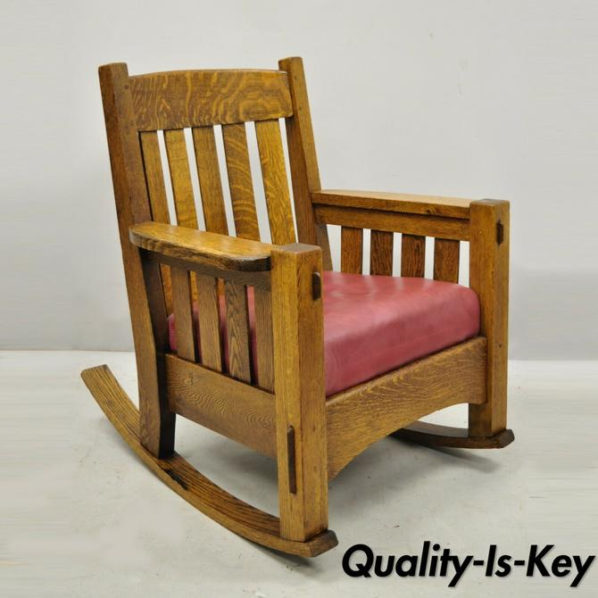 Harden Mission Oak Arts & Crafts Stickley Style Rocking Chair Rocker Armchair