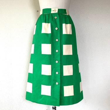 1970's Kelly green square print cotton skirt by VelvetGoldmineShop