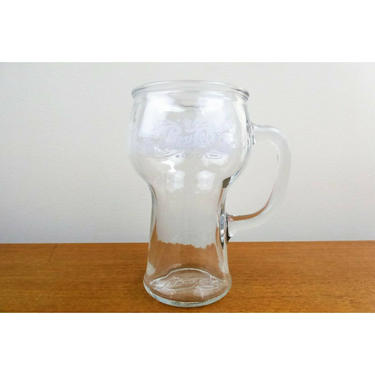 Vintage Pepsi Fountain Glass   Handled with Rolled Lip   White Logo by TheFeatheredCurator