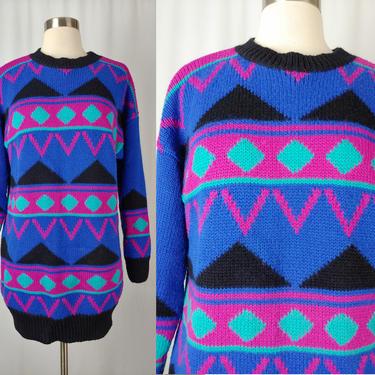 Vintage Eighties Bright Pullover Geometric Sweater - 80s Purple and Pink Wool Acrylic Blend Long Colorful Sweater - Medium Steena Sweater by JanetandJaneVintage