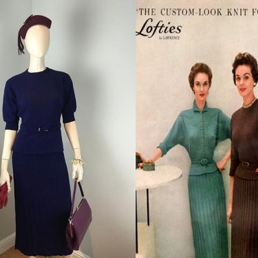 They Definitely Gave a Custom Look - Vintage 1950s Helen Harper Navy Blue Wool Belted Knit Sweater Skirt Set - S/M by RoadsLessTravelled2