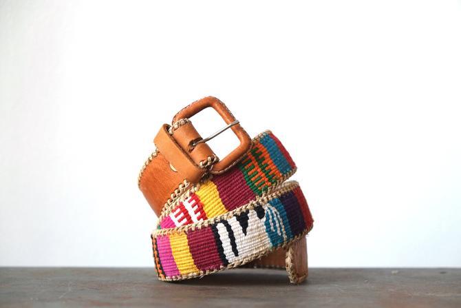 Vintage Boho Guatemalan Embroidered Leather Belt by circlethesquare