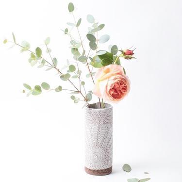 Boheme Bud Vase, ceramic vase, stoneware vase, white vase by TagliaferroCeramics