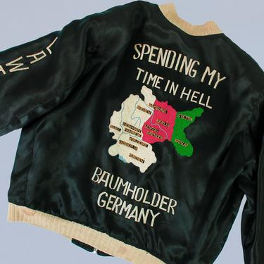 RARE 1950s Vintage War Jacket / Souvenir Jacket / Spending My Time In Hell by GuermantesVintage