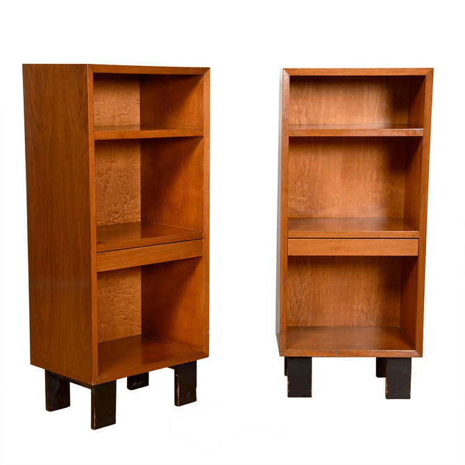 George Nelson Mid Century Tall Nightstand with Pull-Out Shelf