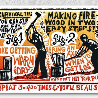 Survival Tips Giclee Print Artwork   Lumberjack   Cabin Art   Boy Scout Gift   Rustic Art   Graphic Art by PiccadillyPrairie