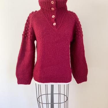 Vintage 1980s Cranberry Red Wool Pom Pom Sweater / S/M by MsTips