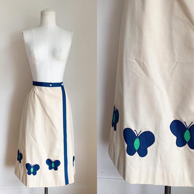 """Vintage 1980s Deadstock Butterfly Applique Wrap Skirt / 28"""" waist by MsTips"""