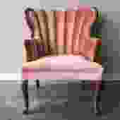 vintage pink channel back chair.