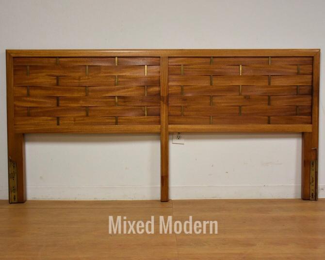 Harvey Probber Mahogany & Brass King Headboard by mixedmodern1