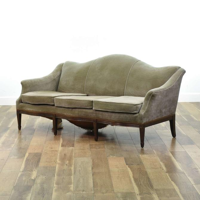 Vintage Empire Revival Grey Velour Sofa