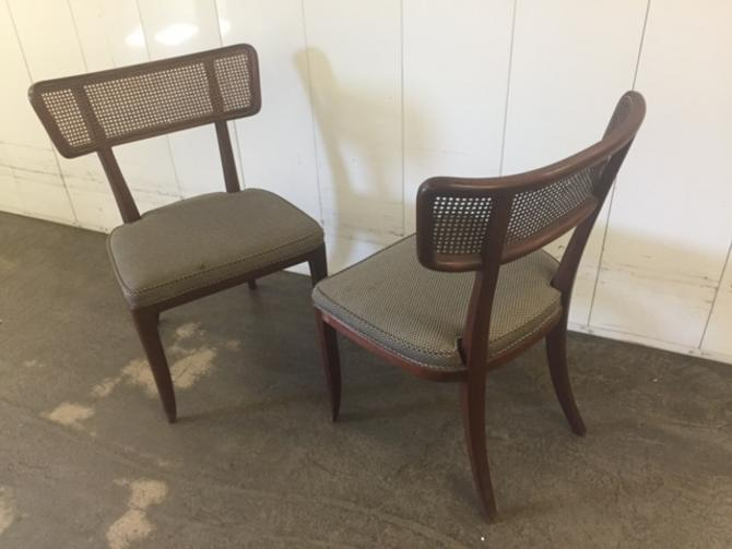 Pair Edward Wormley for Dunbar Caned Back Side Chairs