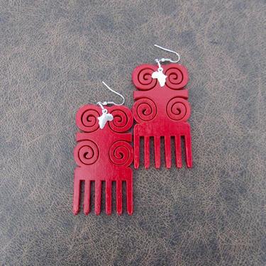 Afro comb earrings, adinkra earrings, wooden earrings, Afrocentric African earrings, bold statement earrings, tribal wood earrings, red by Afrocasian
