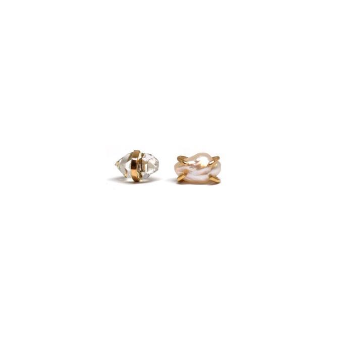 Pearl + Herkimer Diamond Mismatched Stud Earrings