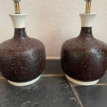 Mid Century Modern Pair of Sculptural Curved Chocolate Cork Table Lamps by HollywoodHillsModern