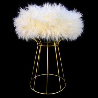 Platner Style Structural Steel Rod Vanity Stool   Table   Plant Stand   Fur Cushion or Morror Top   Customize Your Design by ELECTRICmarigold