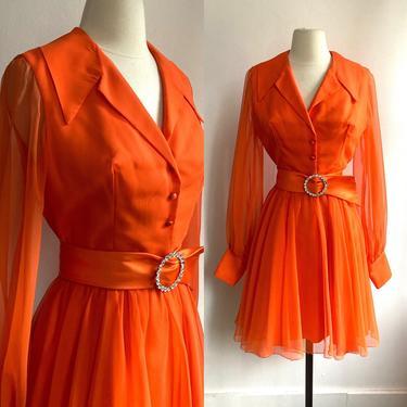 Fabulous CHIFFON Dress + RHINESTONE SATIN Belt / Bishop Sleeve + Dagger Collar by CharmVintageBoutique