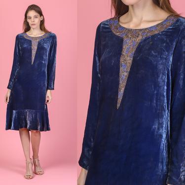 1920s Art Deco Blue Velvet Beaded Trim Dress - Small | Vintage Drop Waist 20s Lace Embroidery Knee Length Flapper Dress by FlyingAppleVintage