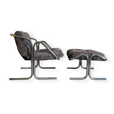 Mid-Century Modern Chrome Lounge Chair & Ottoman by Jerry Johnson for Landes