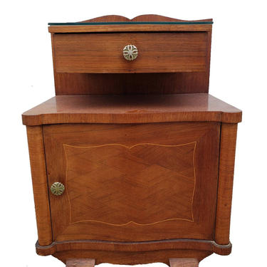 French Art Deco Vintage Floating Shelf Mahogany Inlaid Parquetry Bedside Cabinet Nightstand  -   or side/end table lamp stand by RabidRabbitAntiques