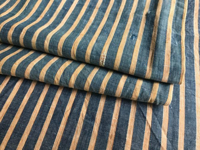 French Cotton Fabric Remnant, Striped Indigo Cotton, Sewing Upholstery Projects by JansVintageStuff