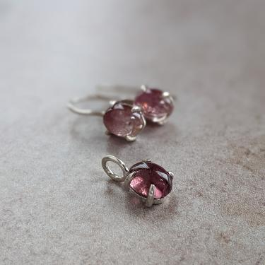 OOAK Pink Tourmaline Oval Pendant and Earring Set by EmilyMarquisDesigns