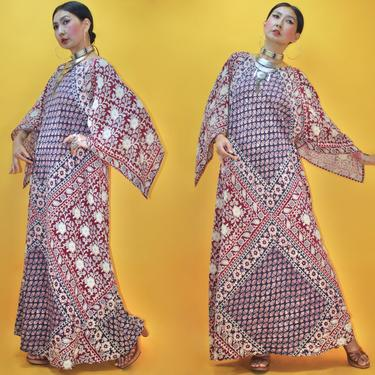 Vintage 1960s 1970s Angel sleeves Indian Cotton Block Print Maxi Dress /Fits S M/ 60s 70s Butterfly Wing Kaftan caftan Boho Hippie Folk by TheeAppleBoutique