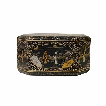 Chinese Black Lacquer Golden Graphic Octagonal Rectangular Display Box ws1519E by GoldenLotusAntiques