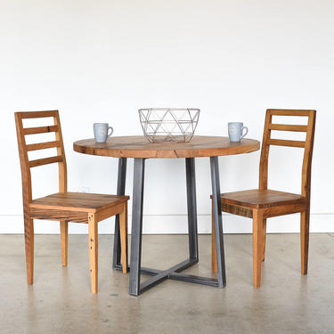 Reclaimed Wood Dining Table / Round Kitchen Table / Industrial Metal Criss Cross Base by wwmake