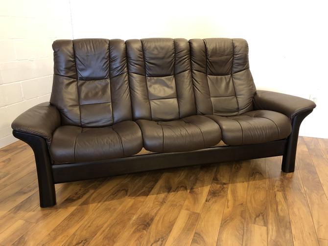 Ekornes Windsor Brown Leather Reclining Sofa