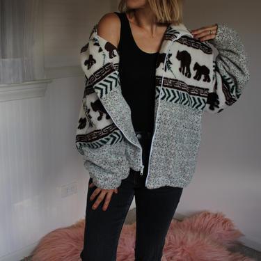 Vintage Fleece Bear Patterned Cozy White Jacket Women's Size S M by NeonSkyVintageMN