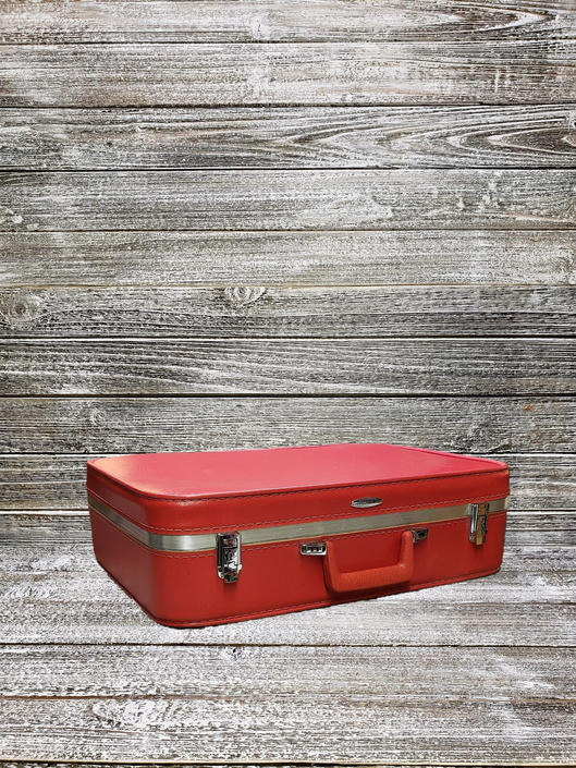 Vintage Featherlite Suitcase, Red Featherlite Luggage, Sears Red Vinyl Suitcase & Matching Lining, Vintage Vacation, Vintage Luggage by AGoGoVintage
