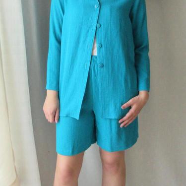 Jacket and Shorts, High Waist, Crinkle Gauze Fabric, Teal, Side Pockets, Blazer, Vintage 80s 90s by GabAboutVintage