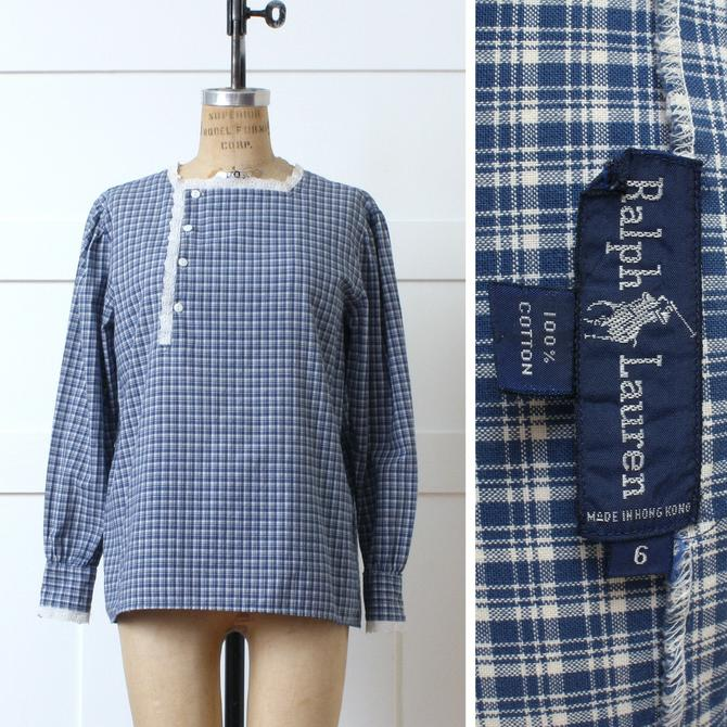vintage 1980s womens Ralph Lauren blouse • country victoriana style blue & white plaid • cotton and lace shirt by LivingThreadsVintage