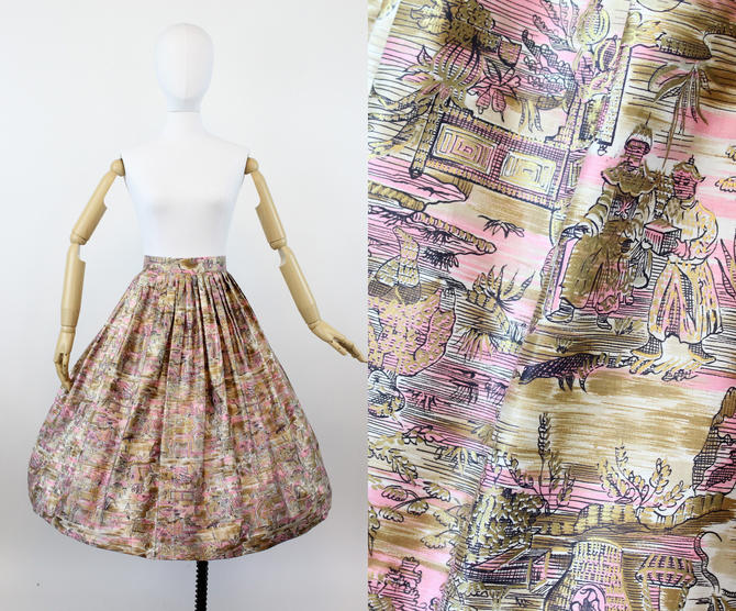 1950s John Wolfe skirt | polished cotton Asian print | small by CrushVintage