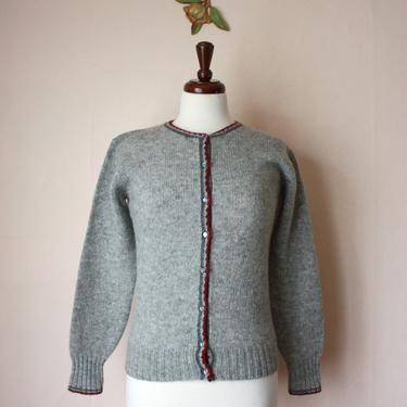60s Scottish Wool Cardigan Gray with Maroon Trim Size S by NoSurrenderVintage