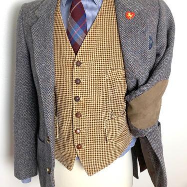 Vintage 100% WOOL TWEED Wool Blazer ~ 36 S ~ Herringbone ~ jacket / sport coat ~ Elbow Patches ~ Preppy / Ivy League / Trad ~ by SparrowsAndWolves