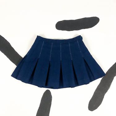 90s Navy Blue Pleated Tennis Skirt / Mini Skirt / Large / y2k / 00s / Clueless / Cyber / Club Kid / Rave / L / Size 12 / Athletic / Solid by badatpettingcats