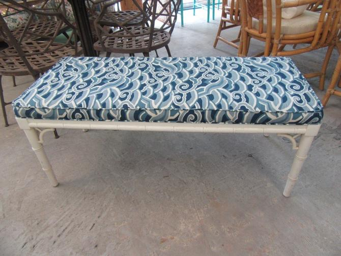 Newly Upholstered Faux Bamboo Bench