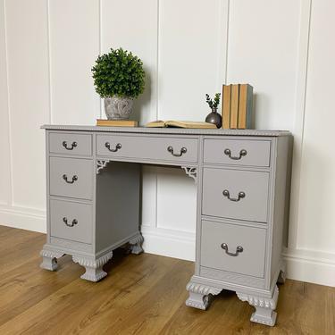 NEW - Vintage Seven Drawer Grey Desk, Painted Furniture, Office, Bedroom, Farmhouse, Distressed by ForeverPinkVintage