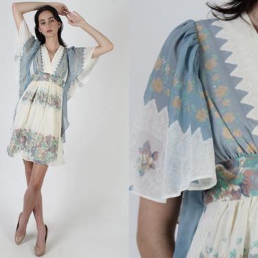 Pastel Floal Print Dress / Kimono Sleeve Wrap Dress / Wide Angel Sleeve Prairie Style / Beige Womens Flowy Summer Mini Dress by americanarchive