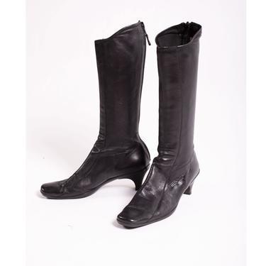 Vintage PRADA Black Nappa Leather Mid Calf Square Toe Boots sz 41 Heels Cowboy Y2K Minimal Tall by backroomclothing