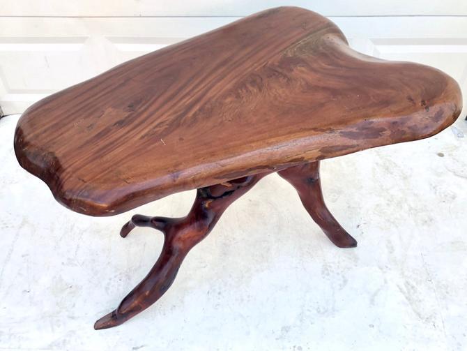 Vintage Boho Live Edge Slab Table by secondhandstory