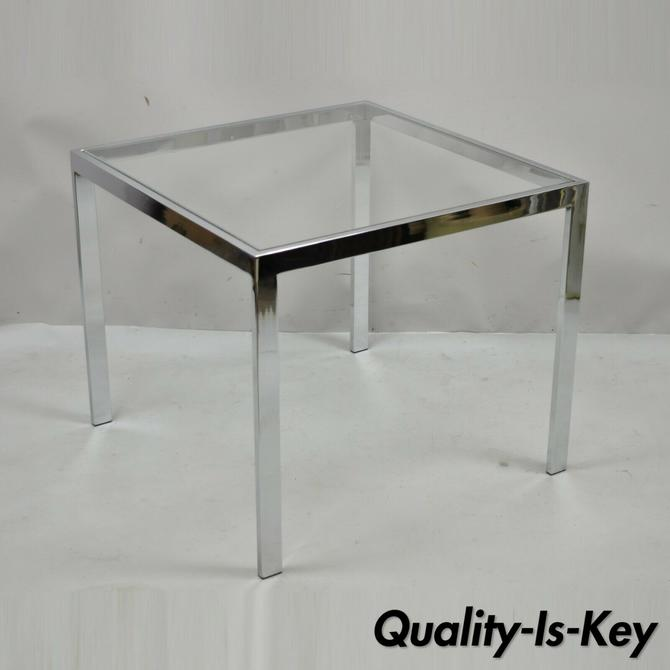 Mid Century Modern Polished Chrome Glass Top Square Occasional Side End Table